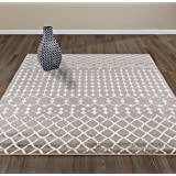 "Diagona Designs Contemporary Moroccan Trellis Design Area Rug, 63"" W x 87"" L, Gray/Ivory"