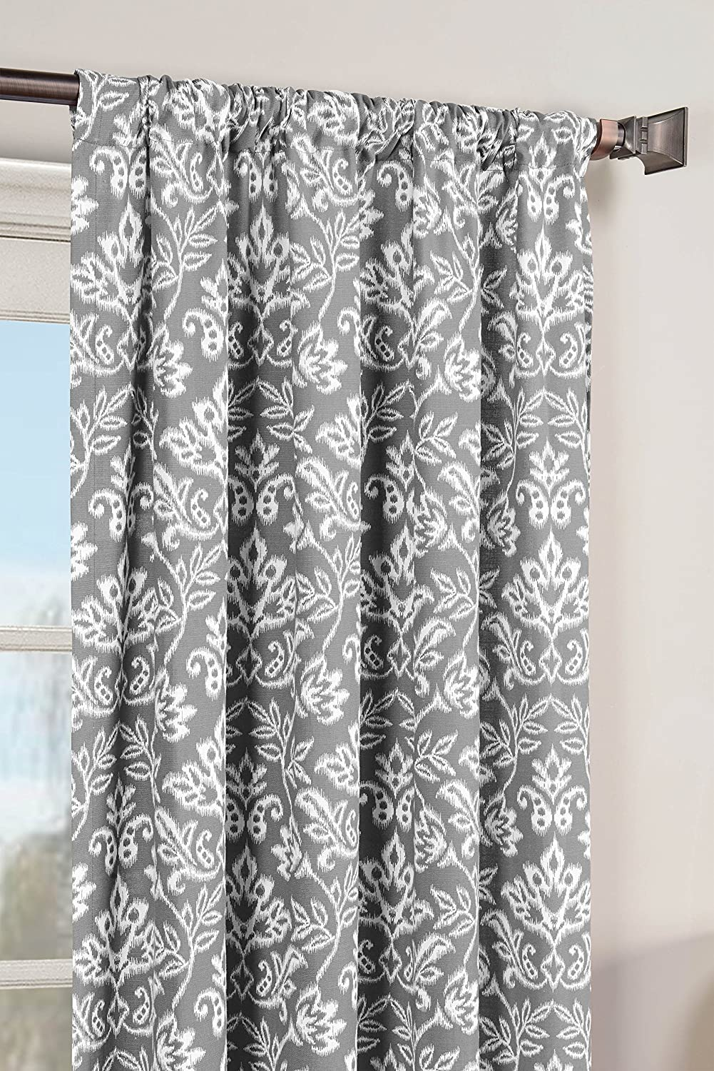 Window Elements Valencia Printed Cotton Extra Wide 104 x 84 in. Rod Pocket Curtain Panel Pair, Grey