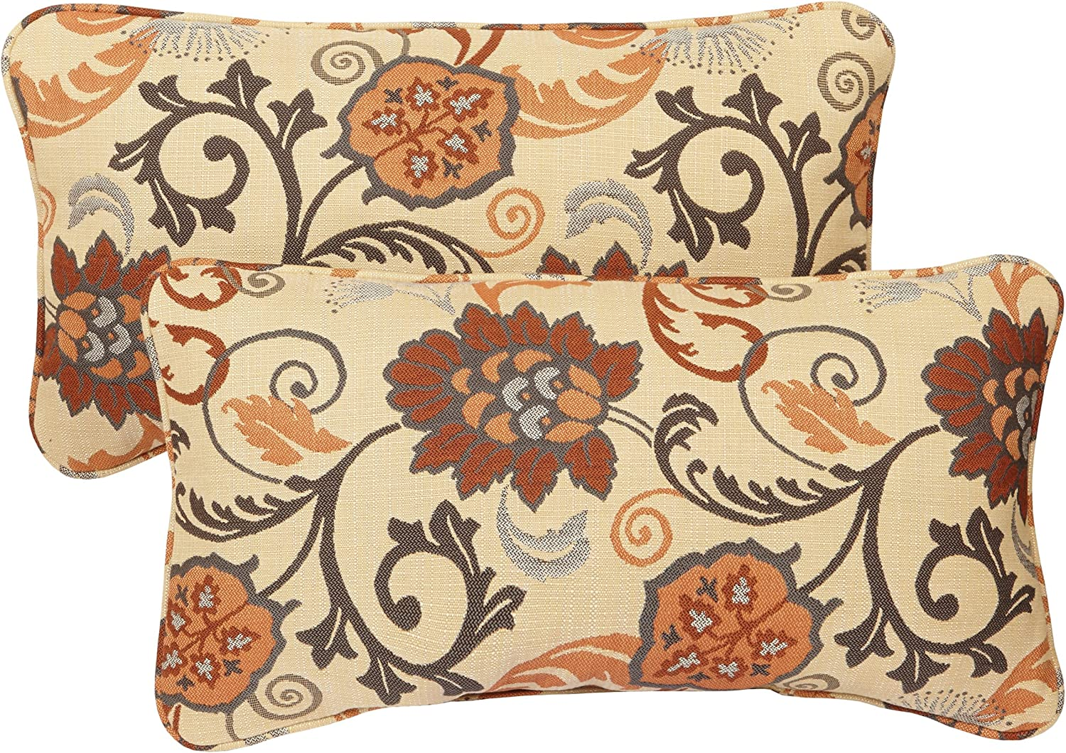Mozaic AMPS106896 Indoor Outdoor Sunbrella Lumbar Pillows with Corded Edges, Set of 2 12 x 18 Brown Floral