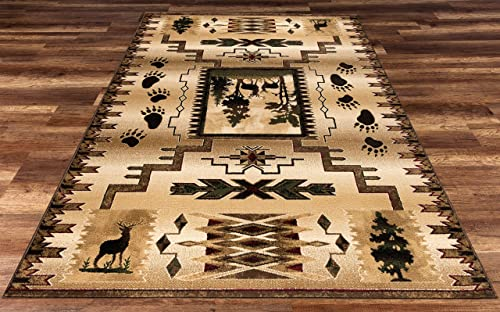 Great American Distributors Rustic Cabin Lodge Southwestern Cozy Cottage Area Rug – Beige, Green, Brown – Forest, Deer – Living Room – Hallway, High Traffic – Stain Fade Resistant 7 10 x 10 2