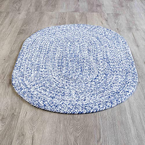Homespice Rectangular Cotton Braided Rugs, 2-Feet by 3-Feet, Baja Blue