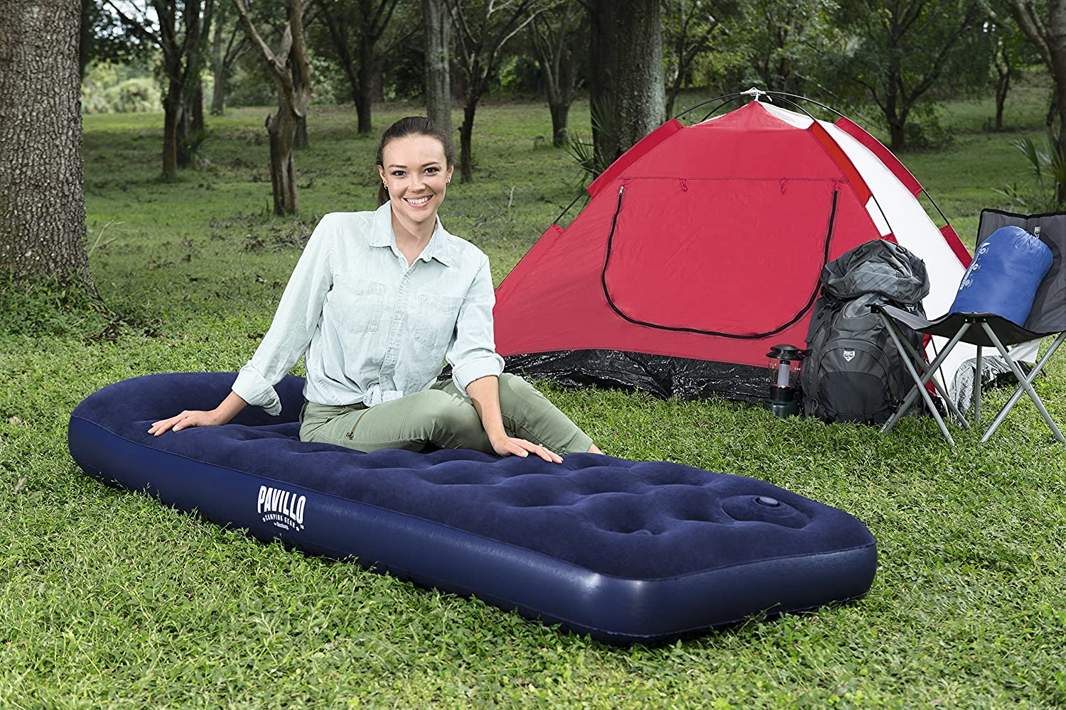 Single Flocked Camping Airbed Inflatable Mattress Blow Up