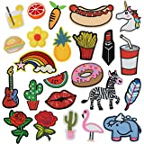 24 Pcs Iron On Embroidered Motif Applique Glitter Sequin Decoration Patches DIY Sew on Patch for Jeans, clothing