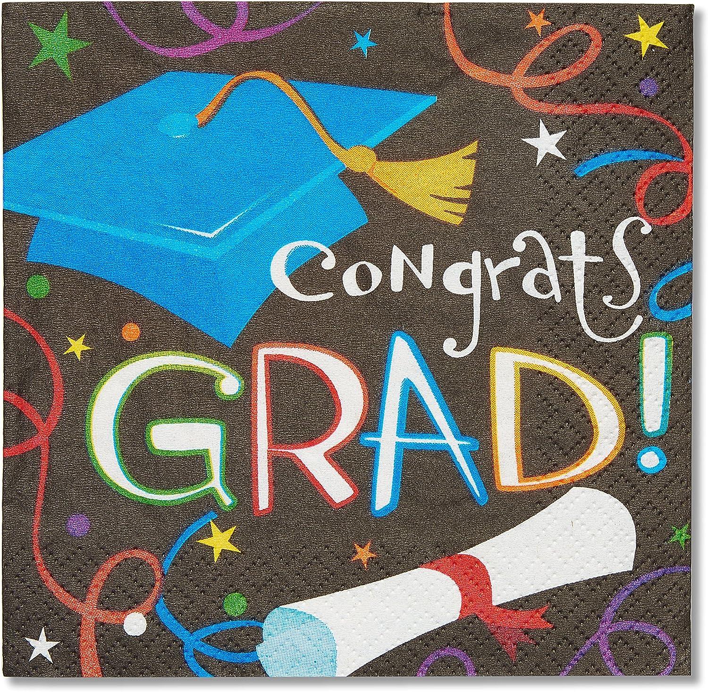 American Greetings Congrats Grad 16 Count Beverage Napkins, Black