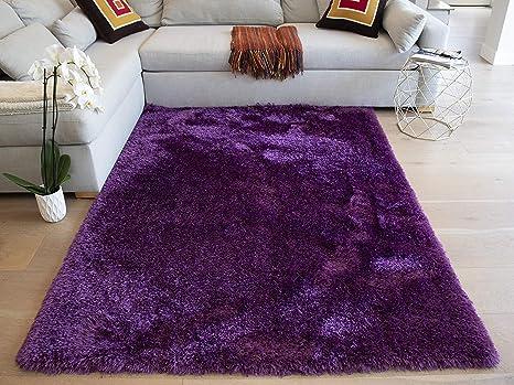 Dark Purple Deep Purple Eggplant Color 8 X10 Feet Solid Plush Furry Shag Shaggy Modern Contemporary Decorative Designer Bedroom Living Room Area Rug Carpet Rug Canvas Backing Hand Tufted Polyester Kitchen