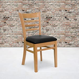 Flash Furniture 2 Pack HERCULES Series Ladder Back Natural Wood Restaurant Chair - Black Vinyl Seat