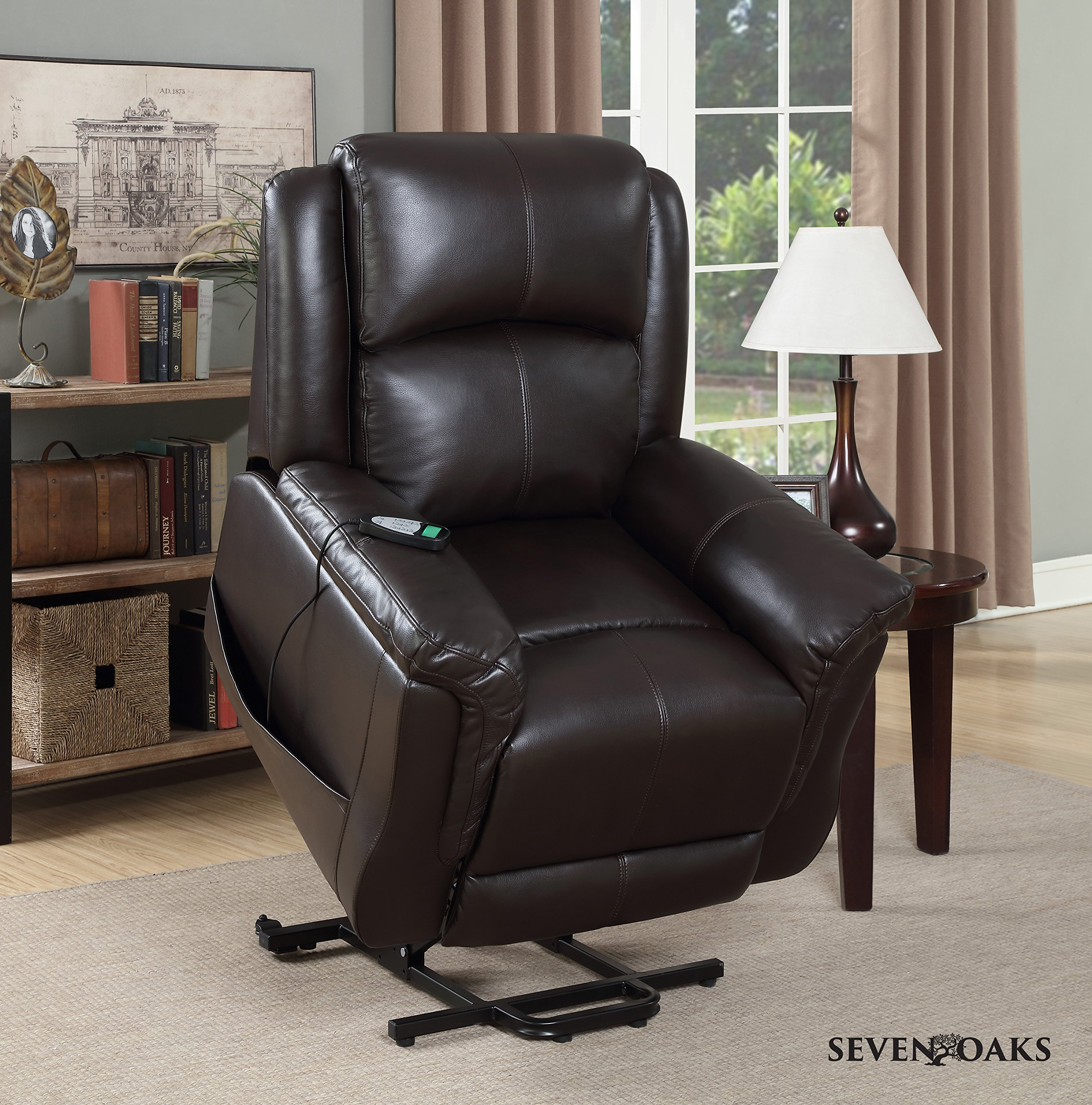 Seven Oaks Power Lift Recliner for Seniors   Electric Chair for the Elderly with Heated Massage   Adjustable Controls & Full Range of Motion   Soft Bonded Leather   (Model # PETITEBRNLEATHMOD)
