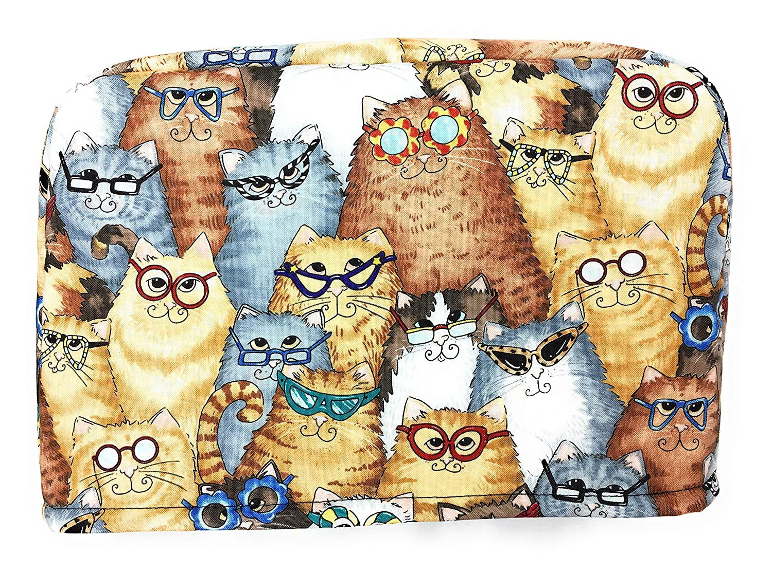Whimsical Cats Kittens with Glasses Reversible Kitchen Toaster Appliance Dust Cover Cozy 11.5 h x 7.5 x 11.5 l w 4 Slice Slot