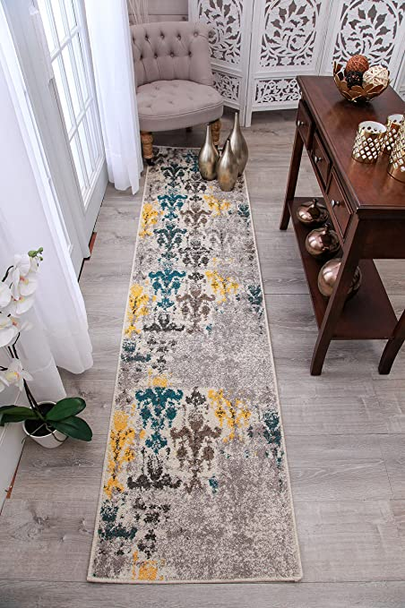 New Fashion Faded Style Floral Area Rugs Yellow Blue Beige Gray Abstract Runner  Rug 2x8 Long