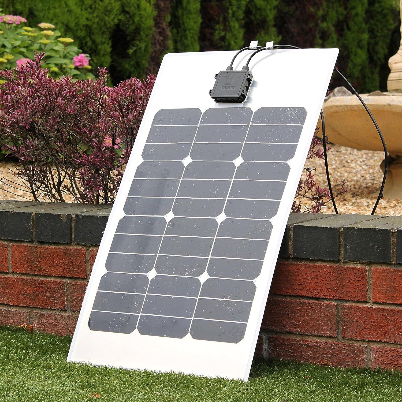 PK Green - Panel Solar Semiflexible Monocristalino, Cargador de Baterias 12V, 40W: Amazon.es: Jardín