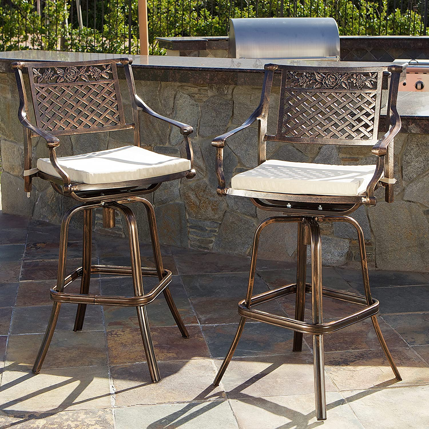 amazoncom sierra outdoor cast aluminum swivel bar stools w cushion set of 2 patio lawn u0026 garden