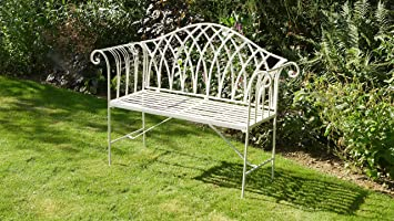 Miraculous Victoria Antique White Wrought Iron Garden Bench Gmtry Best Dining Table And Chair Ideas Images Gmtryco