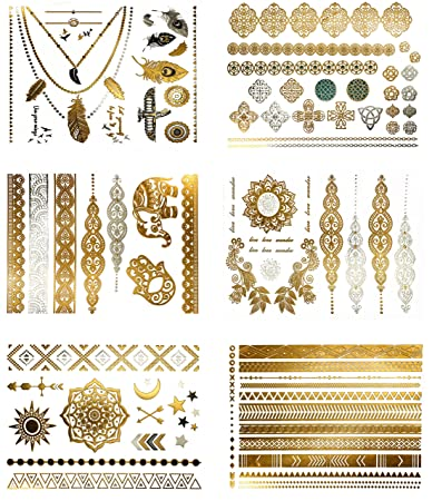 d817d5ba0e42c Amazon.com : Metallic Boho Gypsy Temporary Tattoos - Over 75 Fake Tattoos  in Gold and Silver (6 Sheets) Terra Tattoos Serenity : Beauty