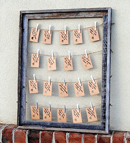 Unique, rustic multiple picture frame with clothespins - 21 x 27-inches - Available in different colors