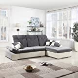 Classic Large Faux Leather and Brush Microfiber L-Shape Sectional Sofa Couch with Chaise Lounge and Adjustable Headrest (Dark Grey / White)