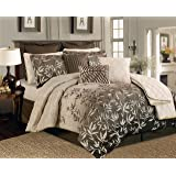 12 Pieces Taupe Luxury Comforter Set Bed-in-a-bag King Size Bedding Primrose