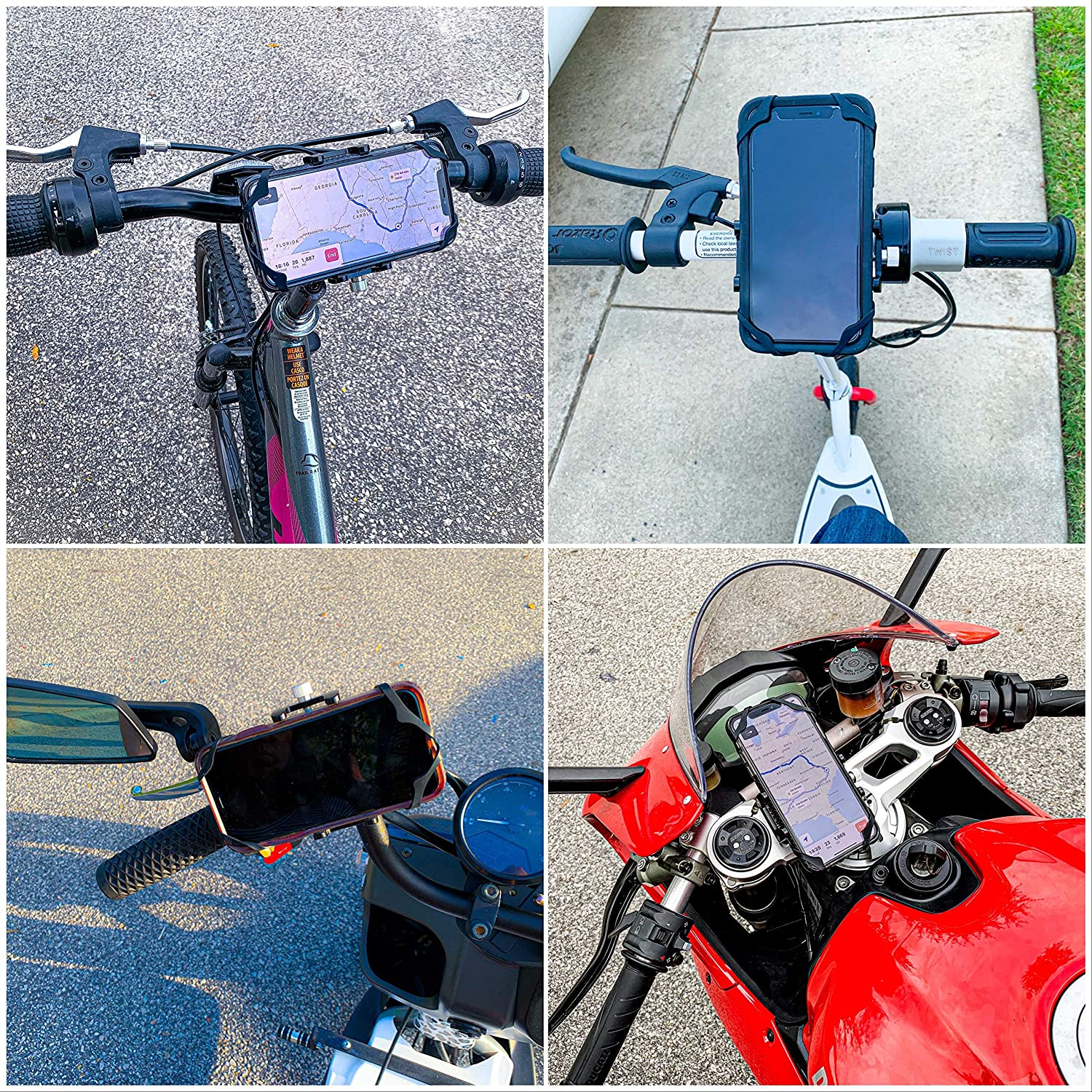 HiGrip Bicycle Accessories for iPhone 7 8 9 X XR XS 11 Plus Pro Max Samsung Galaxy Note 10 20 S6 S7 S8 S9 S10 S20 Metal Bike Phone Mount Aluminum Motorcycle Phone Holder with Safety Band