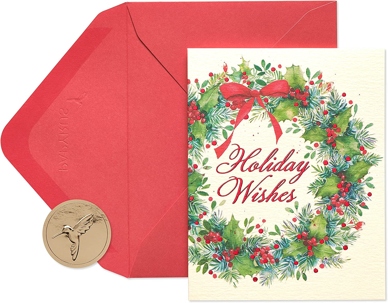 PAPYRUS FESTIVE HOLIDAY CHRISTMAS CARD POM POMS WREATH HANGABLE ORNAMENT