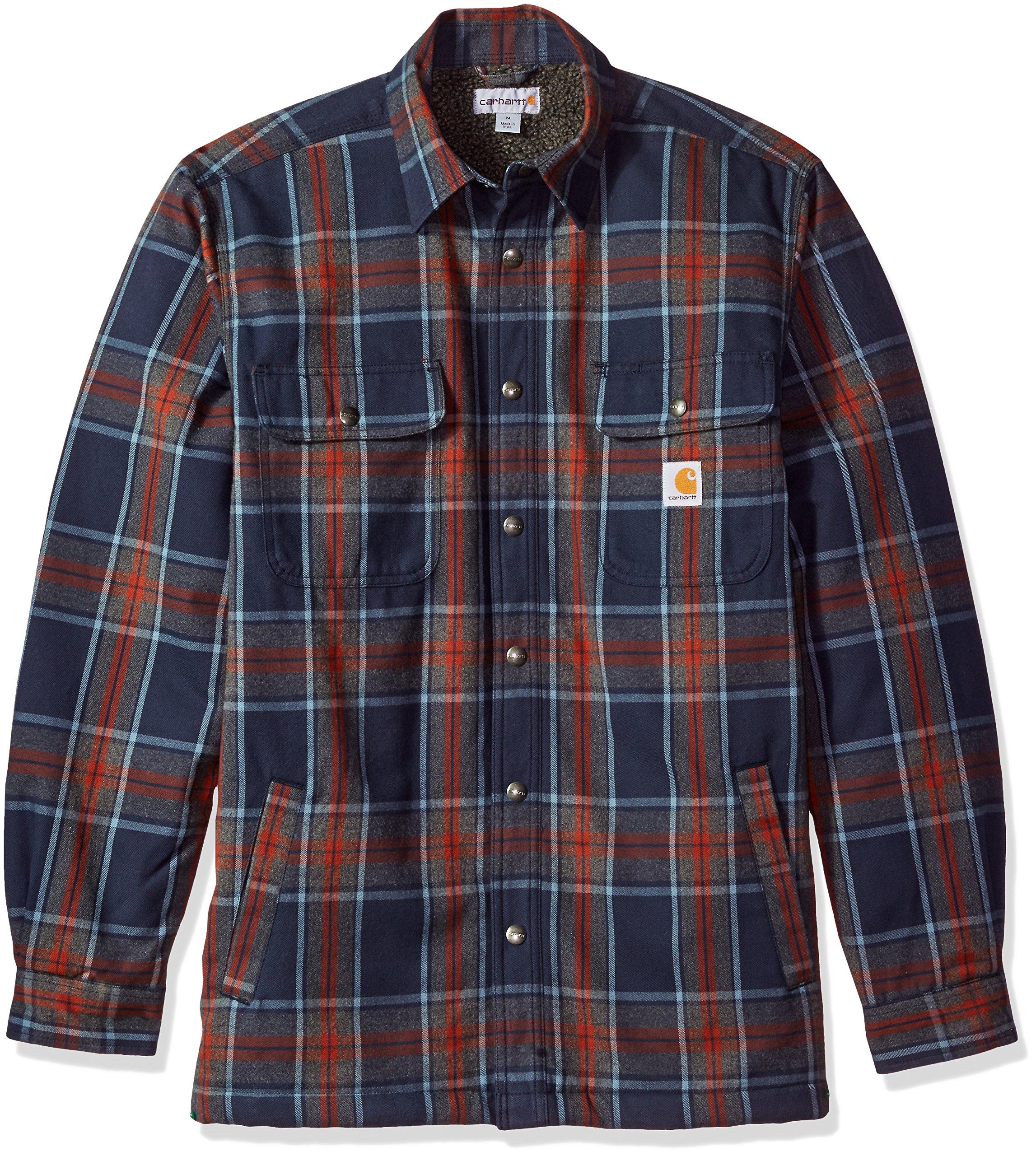 Carhartt Men's Hubbard Sherpa Lined Shirt Jacket, Navy, Large