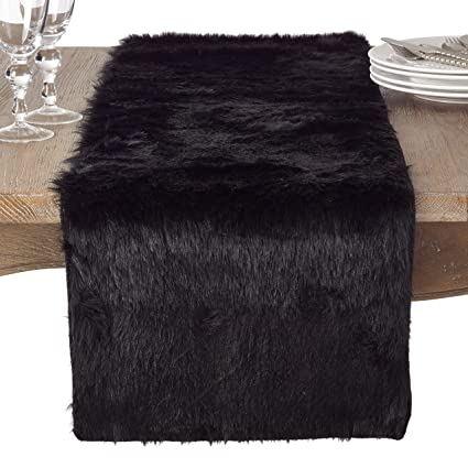 Exceptionnel SARO LIFESTYLE Faux Fur Design Topper Table Runner, 15u0026quot; X 72u0026quot;,  Black