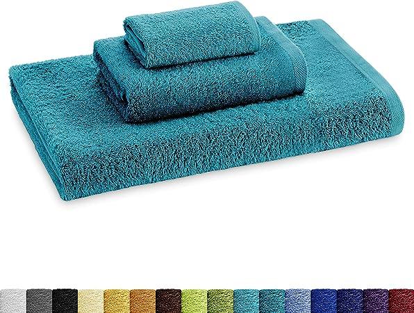 Eiffel Textile Juego de Toallas Calidad Rizo 400 gr, Algodón Egipcio 100%, Oceano, Tocador Lavabo y Ducha, 3 Unidades: Amazon.es: Hogar
