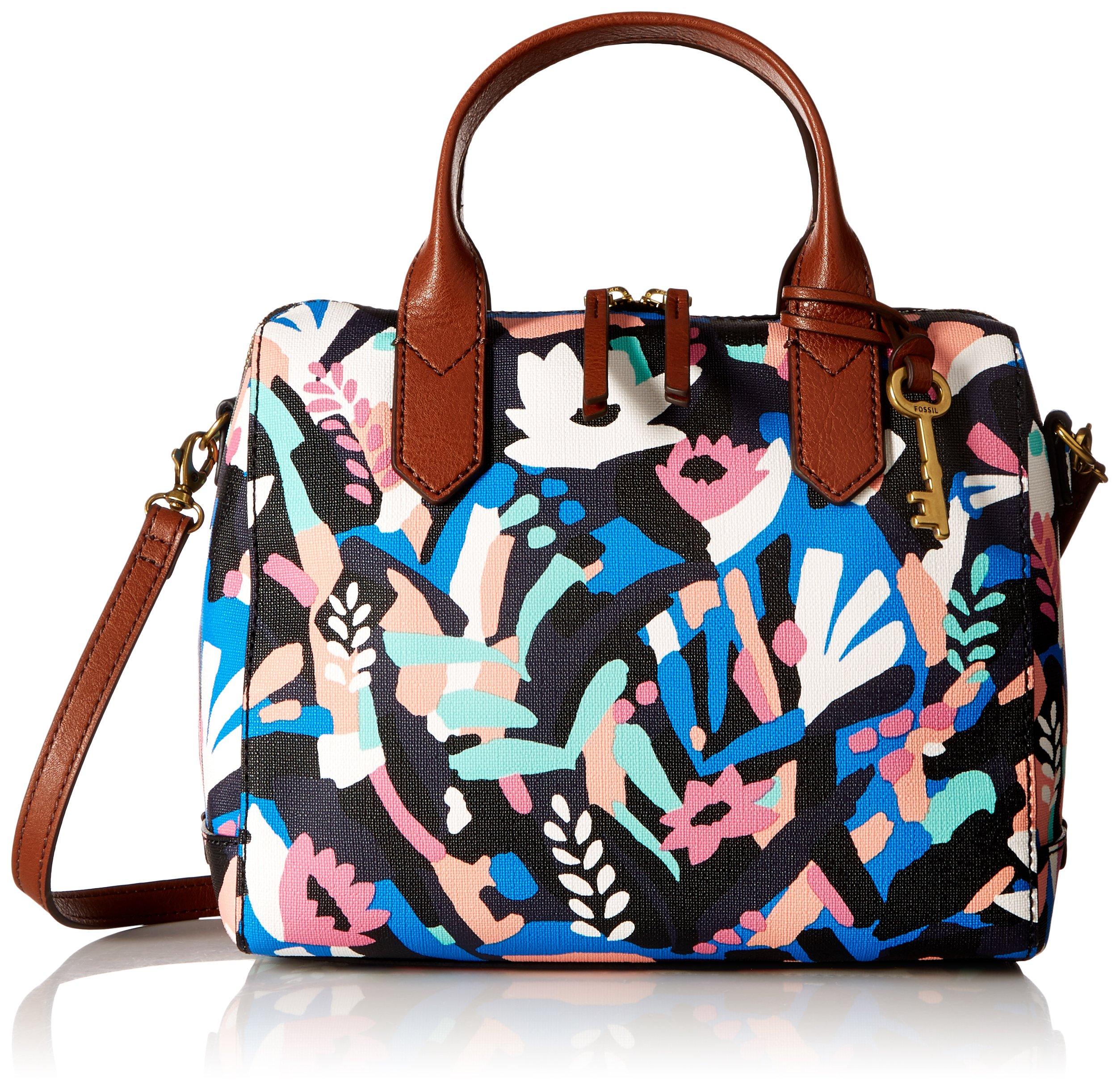 Fossil Fiona Satchel Handbag, Black Floral,One Size