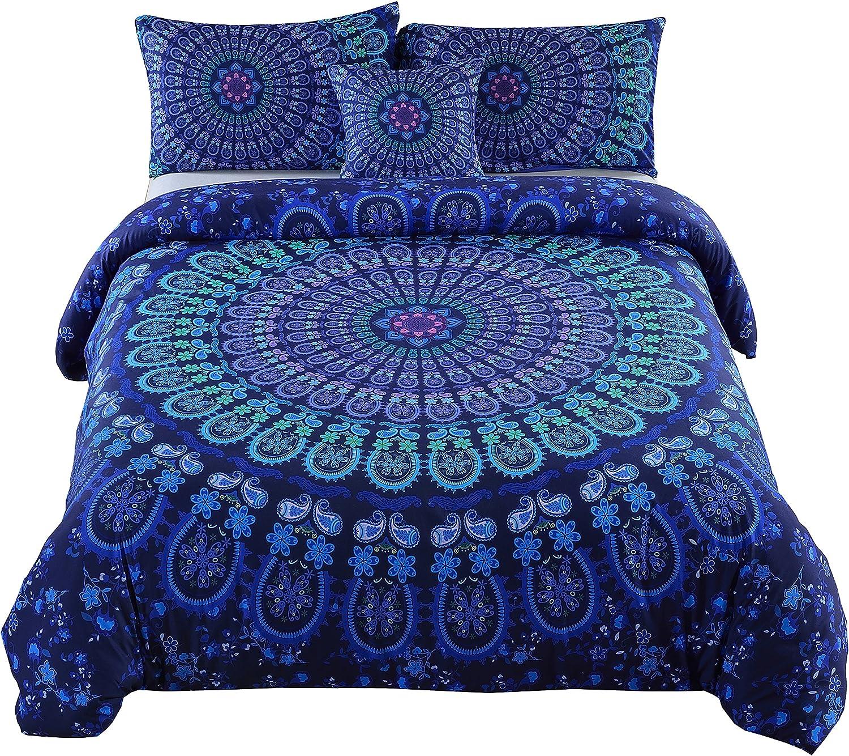 MEILA Duvet Cover Set Luxury Soft Microfiber Bedding Sets Bohemian Mandala Pattern Bedclothes , Full(80inx 90in), 4 Pieces (1 Duvet Cover+ 2 Pillowcase+ 1 Throw Pillow Case)