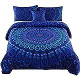 MEILA 4 Pcs Luxury Soft Microfiber Bedclothes Plain Twill Boho Bohemian Duvet Cover Set Mandala Pattern Bedding Sets (Queen)