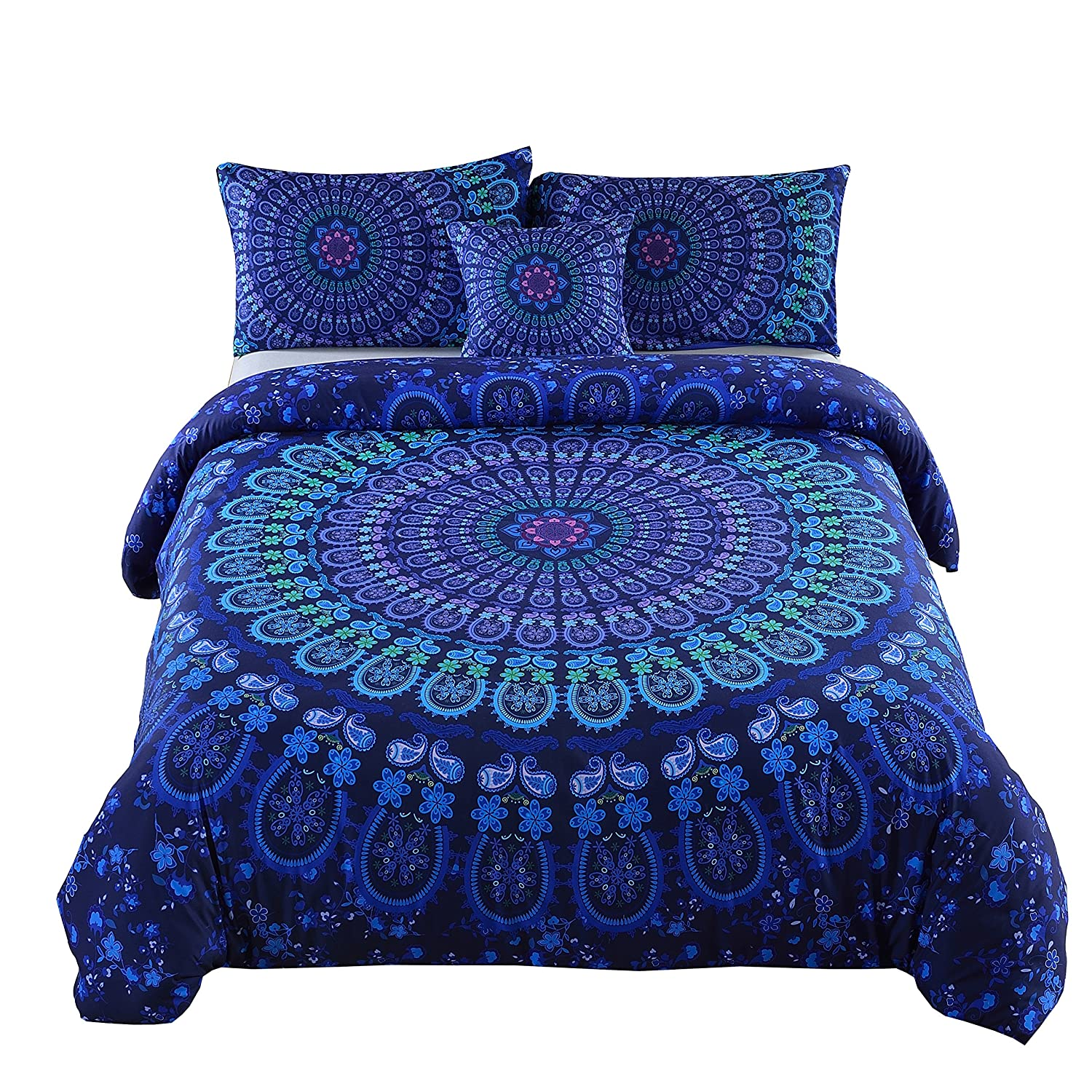 MEILA Duvet Cover Set Luxury Soft Microfiber Bedding Sets Bohemian Mandala Pattern Bedclothes , Queen(90inx 90in), 4 Pieces (1 Duvet Cover+ 2 Pillowcase+ 1 Throw Pillow Case)