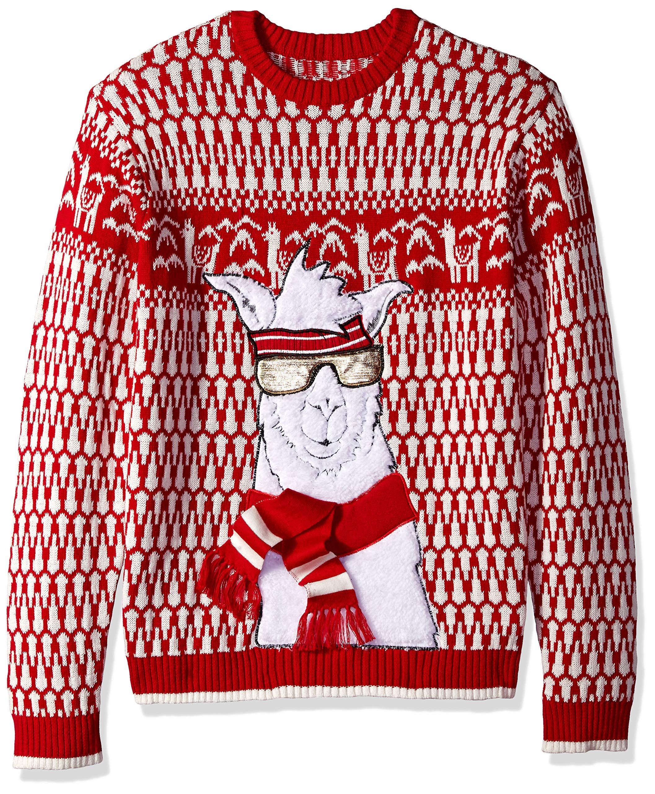 Blizzard Bay Boys Long Sleeve Crew Neck Llama Pegasus Ugly Christmas Sweater
