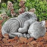 Pure Garden 50-LG1101 Memorial Statue-Sleeping Angel Cat Remembrance Keepsake Sculpture Grave Marker Stone Figurine to Honor