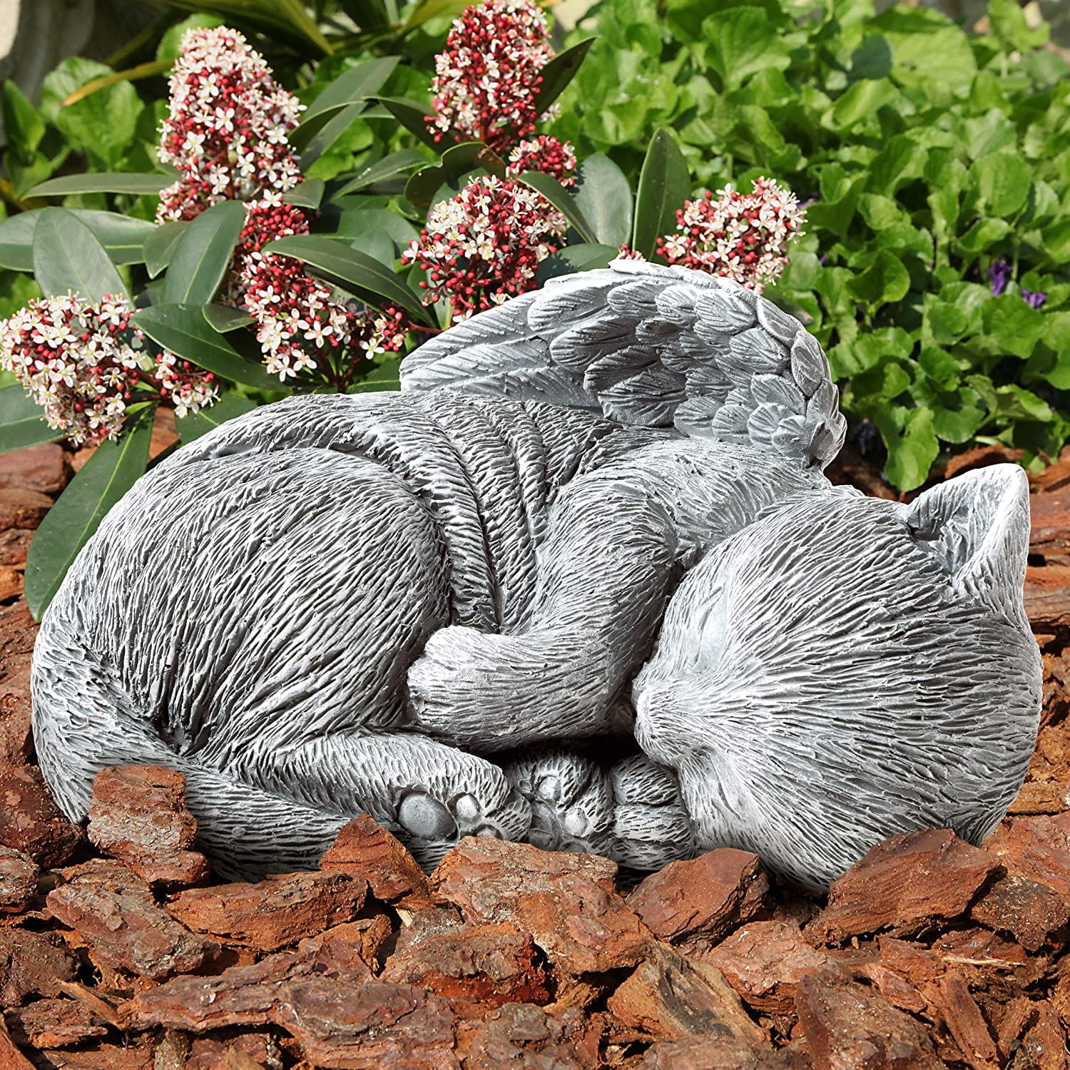 Pure Garden 50-LG1101 Memorial Statue-Sleeping Angel Cat Remembrance Keepsake Sculpture Grave Marker Stone Figurine to Honor a Cherished Pet