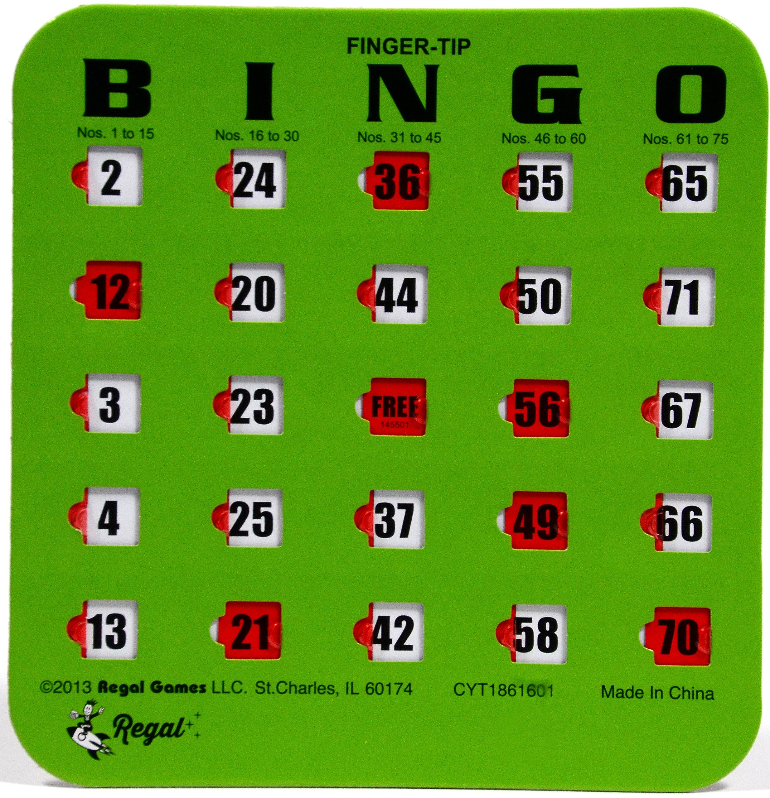 Regal Games 25 Green Fingertip Shutter Slide Bingo Cards