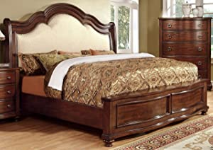 Furniture of America Averia Traditional Platform Bed, California King, Brown Cherry
