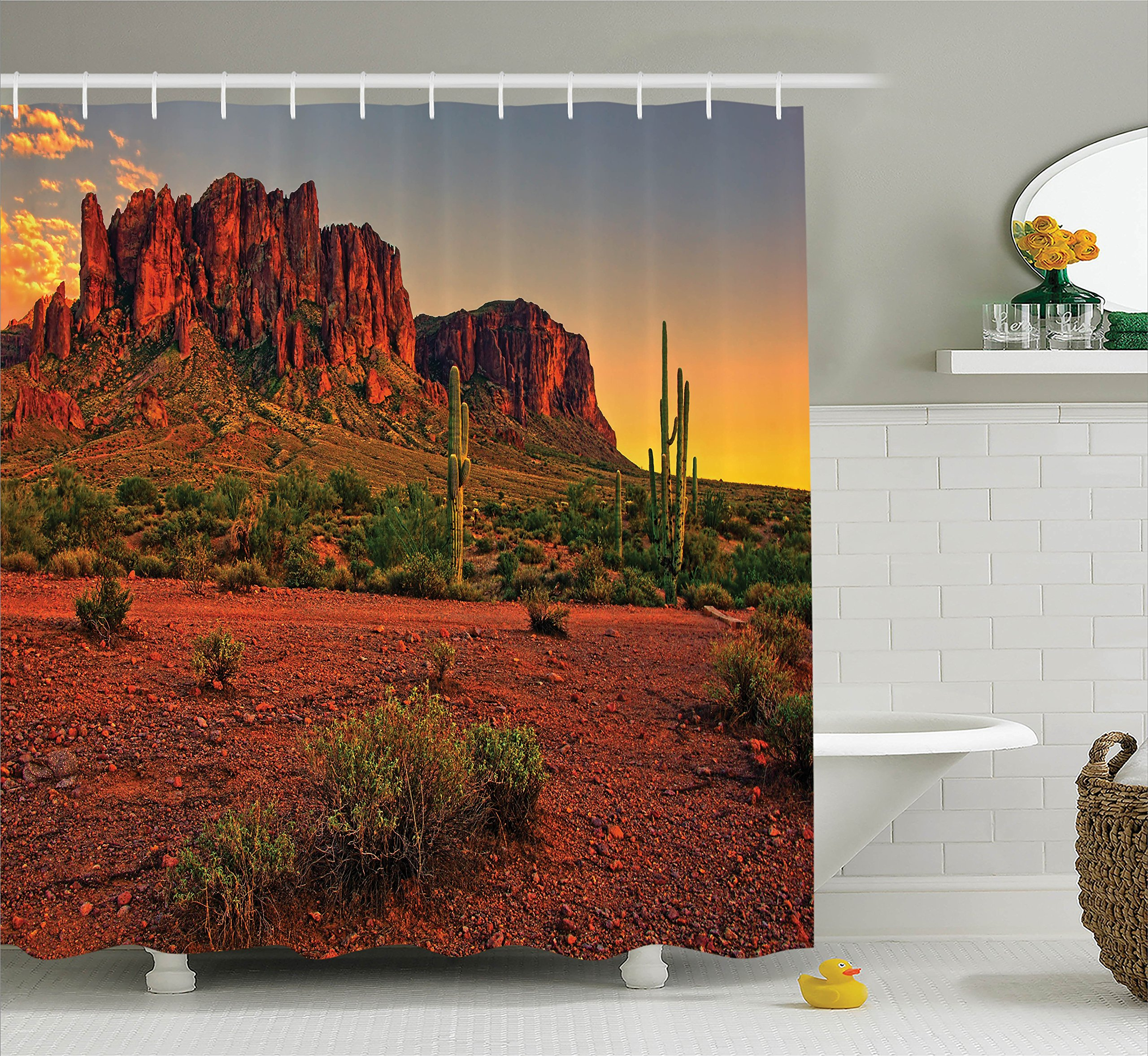 Ambesonne Saguaro Shower Curtain, Colorful Sunset View of The Desert and Mountains Near Phoenix Arizona USA, Cloth Fabric Bathroom Decor Set with Hooks, 84'' Extra Long, Yellow Green