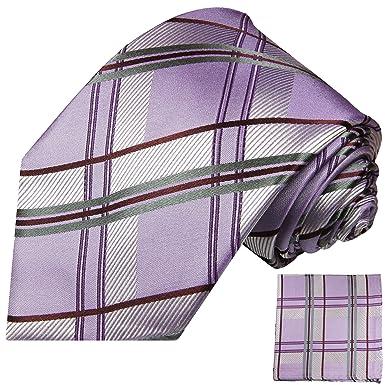 P.M. Krawatten Paul Malone Corbata de seda gris púrpura + pañuelo ...
