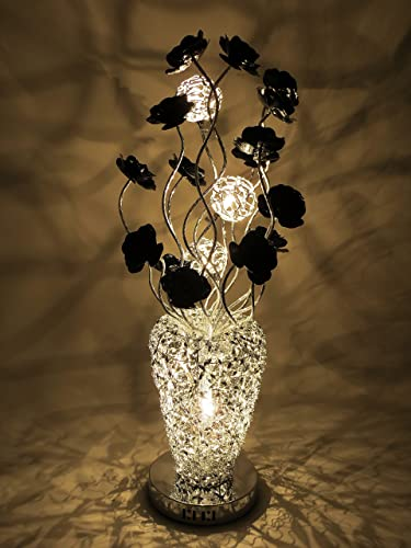 Silver arabian basket style woven wire and aluminium medium table silver arabian basket style woven wire and aluminium medium table lamp led with bloomed black flowers greentooth Gallery