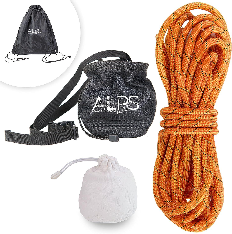 ALPS WILD クライミングロープセット:ダイナミックロッククライミングナイロンロープ 115、131、164フィート チョークボール、チョークバッグ、ロープバッグ アウトドア活動用  Medium
