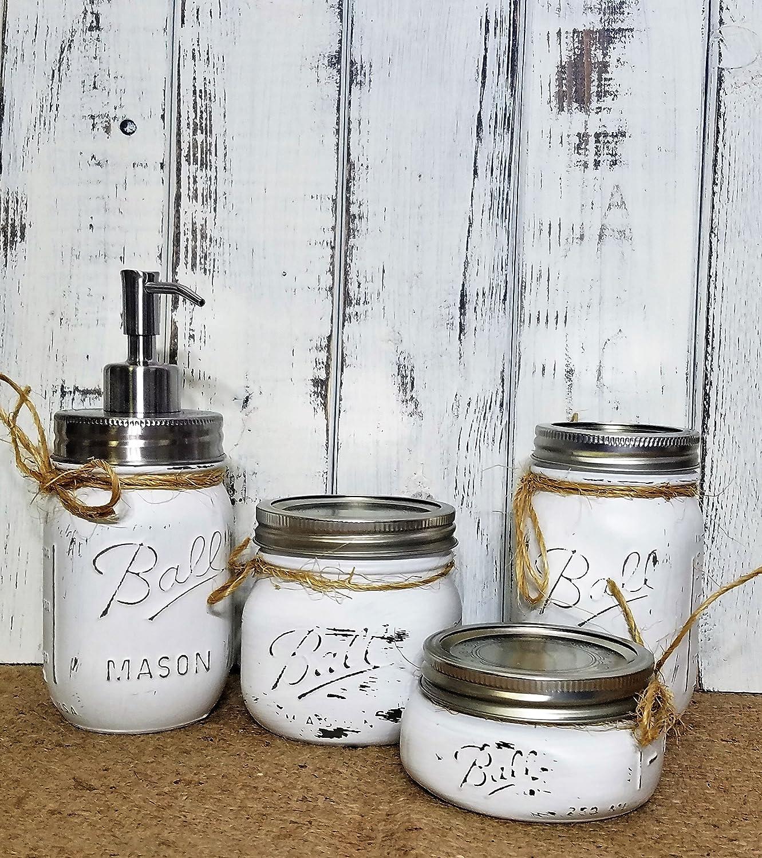 Amazon.com: 4 Piece Mason Jar Bathroom Organization Set - Painted ...