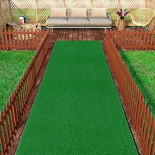 Amazon Com Ottomanson Evergreen Artificial Turf Area Rug 3 X7 3 Green Home Kitchen