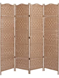 beige wood woven textured 4 panel partition room divider folding privacy screen mygift