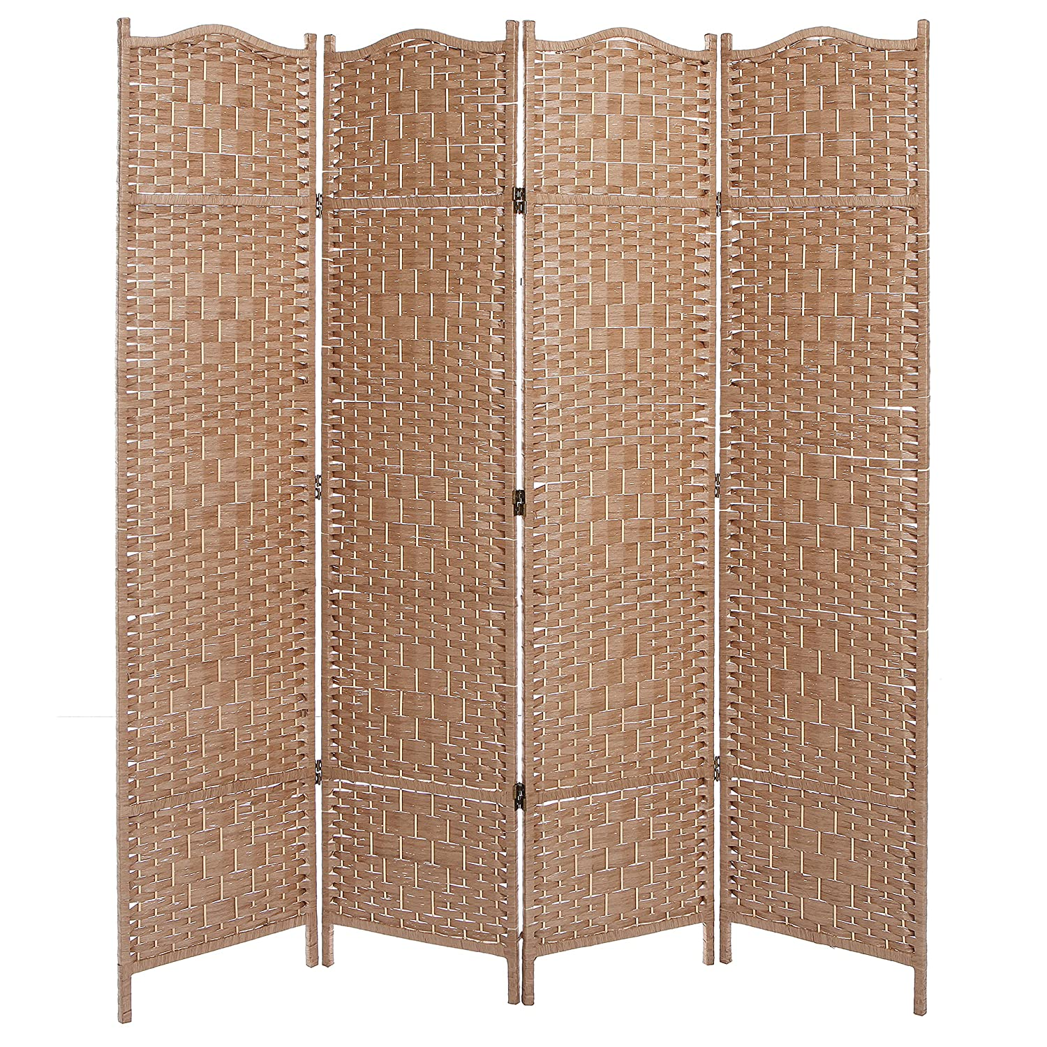 room dividers  amazoncom - freestanding beige wood woven textured  panel partition room dividerfolding privacy screen  mygift