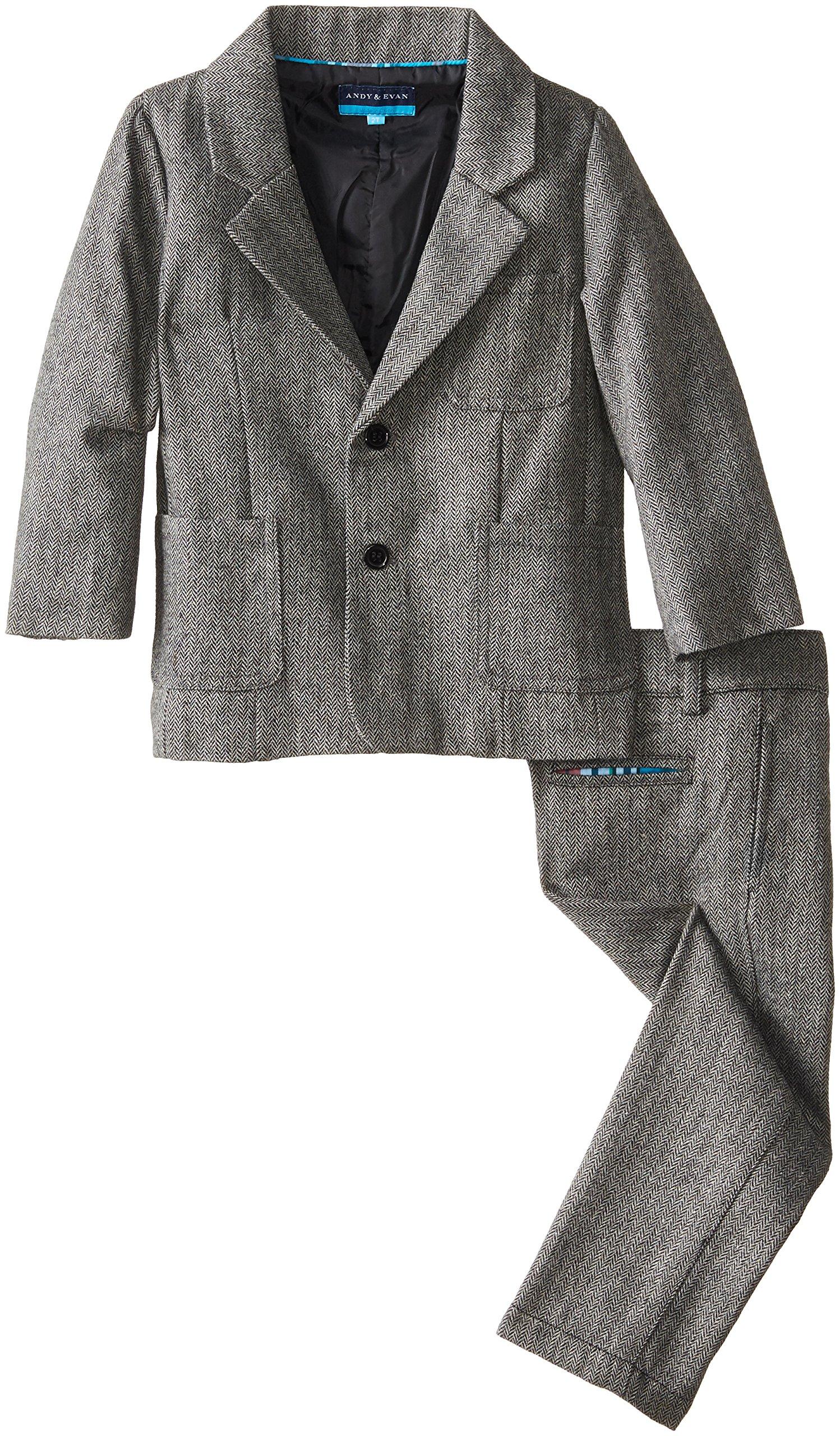 Andy & Evan Little Boys' Herringbone Jacket and Pant Set, Charcoal, 5Y