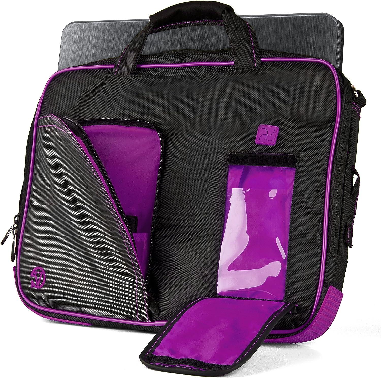 """Vangoddy NBKLEA737 Pindar Messenger Bag for 13"""" to 14"""" Tablets and Laptops, Black/Purple"""