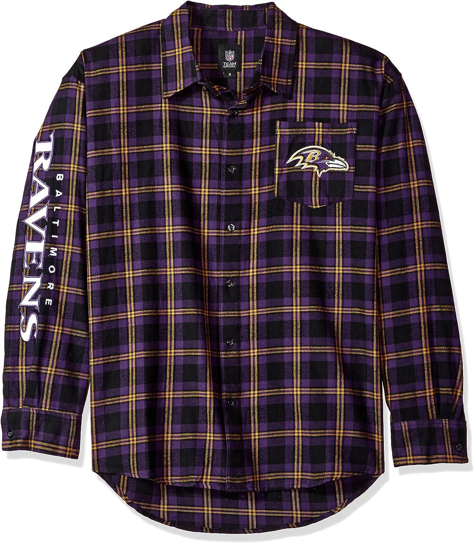 FOCO NFL Mens Wordmark Basic Flannel Shirt