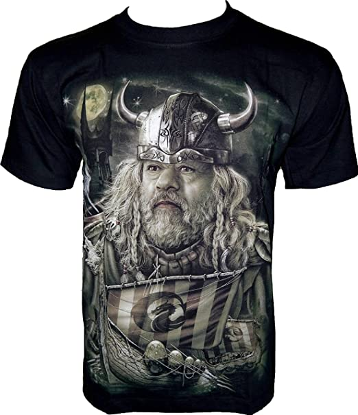 Rock Chang Camiseta de * * Vikingo Glow in the Dark * Negro GR385 negro XXX-Large: Amazon.es: Ropa y accesorios