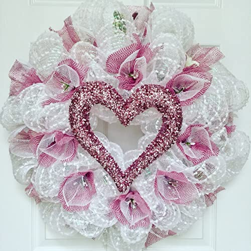 Amazon Com Bridal Or Valentines Day Wreath With Pearl Heart