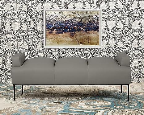 Excellent Iconic Home Carmel Bench Pebble Grain Pu Leather Ottoman With Metal Frame Modern Contemporary Light Grey Inzonedesignstudio Interior Chair Design Inzonedesignstudiocom