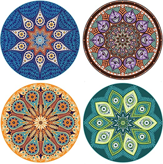 TODAY BUY 1 GET AN EXTRA FREE ENKORE Absorbent Coaster For Drinks YOU GET 8 COASTERS IN THE SET,No Holder Mandala Design Style Up Home Decor 4 Pack Large 4.3 Size Ceramic Stone With Cork Back