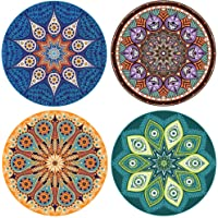 "Enkore Absorbent Ceramic Stone Coaster for Drinks - Mandala, 4 Pack Large 4.3"" Size with Cork Backing"